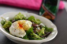 Steirischer Käferbohnensalat mit pochiertem Ei