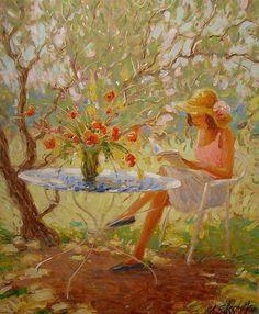 La liseuse et le bouquet by Claude Fossoux (France, b. 1946)