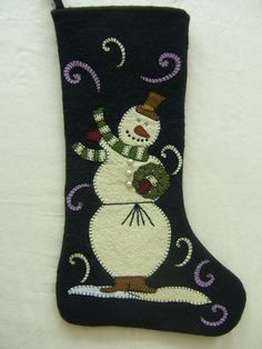 Wool Felt Christmas Stocking Hand Appliqued by MikeandMollyscrafts