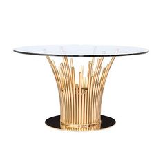 Mauris Round Luxury Dining Table presented by Allamoda Furniture features a rose gold polished s. steel base with clear tempered glass top. Glass Dining Table, Glass Round Dining Table, Dining Table In Kitchen, Glass, Gold Dining, Dining Table Bases, Luxury Dining Tables, Extendable Dining Table, Dining Room Table