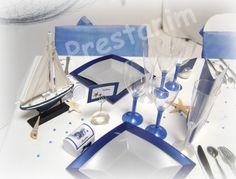 Decoration de mariage theme bleu marine mer et nacre