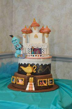 Disney Themed Cakes - Aladdin cake for my daughter's bday Aladdin Birthday Party, Aladdin Party, 6th Birthday Parties, Disney Themed Cakes, Disney Cakes, To My Daughter, Daughters, Aladdin Cake, Pirate Baby