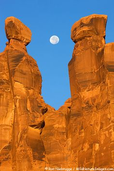 Full moon with the Three Gossips, Arches National Park, Utah