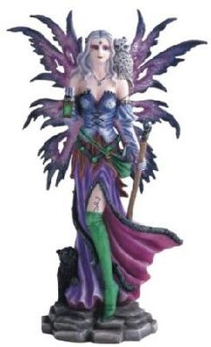 Purple Fairy With Cat And Owl Collectible Figurine Decoration Statue