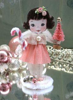 Vintage Inspired Christmas PiNk SuGaR SwEeT Christmas Girl Keepsake Paper Posy Doll. via Etsy.
