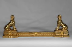 Antique firedog with sphinges decoration in golden bronze - Firedogs, andirons Decoration, Art Decor, Sphinx, Winged Victory, Napoleon Iii, Bronze, Architectural Antiques, Empire Style, House