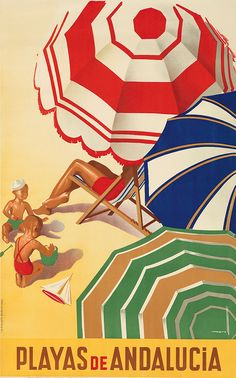 Spanish poster by José Morell (1899-1949), 1939, Playas de Andalusia. #parasol