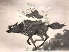 Discover the fantastic mysterious graphical universe of Chiara Bautista. Découvrez le mystérieux univers fantatique de l'illustratrice Chiara Bautista. #ChiaraBautista #loup #wolf #galop #run #rabbit #lapin #illustration #drawing