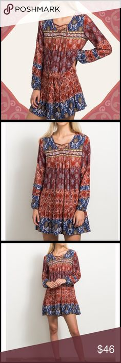 "Boho Print Dress PRINTED V NECK CRISSS CROSS LACE-UP RELAXED DRESS MODEL HEIGHT : 5'10"" WEARING A SMALL SIZE 100% RAYON Boutique Dresses"