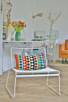 oblong pillow project by ingrid jansen (wood and wool stool) completely love the colours used for this cushion. the smart ikatish diamond is also a winner