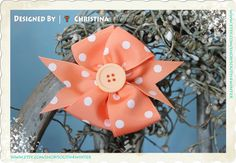 Peach Passion  Peach  & White Polka Dots  Hair Bow by south4winter, $6.00
