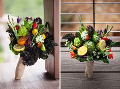 bouquet for a food stylists wedding