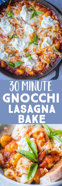This 30 Minute Gnocchi Lasagna Bake is perfect for a quick and easy vegetarian dinner recipe that the whole family will love, including the kids! It's great for a hearty and comforting winter meal that has minimal ingredients and doesn't take a lot of time. #gnocchi #vegetariandinner #onepotmeal #30minutedinner