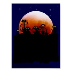 Shop Halloween Kitties and Halloween Moon Postcard created by Lotacats. Personalize it with photos & text or purchase as is! Halloween Moon, Halloween 2013, Fantasy Posters, Moon Painting, Halloween Invitations, Make Your Own Poster, Modern Artwork, Samhain, Postcard Size