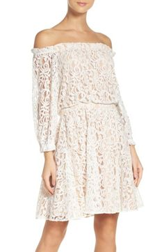 Main Image - Lace Off the Shoulder Dress White Dresses For Women, Little White Dresses, Grad Dresses, Nice Dresses, Trendy Clothes For Women, Nordstrom Dresses, Flare Skirt, Fit And Flare, Lace Dress