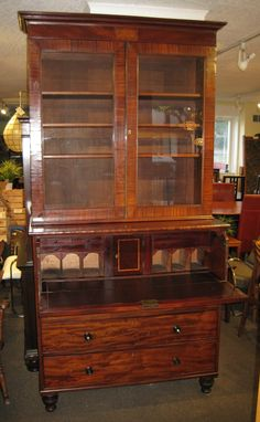 Gorgeous antique mahogany drop front secretaire just $1299.00 at Charmaine's Past and Present! #antique #desk #mahogany