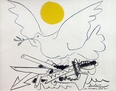 artemisdreaming:  World Without Weapons. (aka Blue Dove with Yellow Sun)  Pablo Picasso