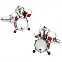 Pair of Fashionable Red Drum Set Shape Alloy Cufflinks For Men