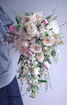 This bouquet is beyond beautiful. Bouquet En Cascade, Cascading Wedding Bouquets, Bridal Bouquet Pink, Summer Wedding Bouquets, Bride Bouquets, Bridal Flowers, Flower Bouquet Wedding, Bridesmaid Bouquet, Silk Flowers