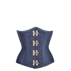 "Blue Denim Look Steel Boned Underbust Corset with Hooks  This denim underbust is inspired from Americana and Rockabilly fashion.  Designed with a hook and eye closure and a dozen steel bones to potentially reduce your waist to an incredible 5""!"