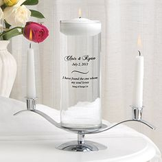 Personalized Floating Unity Candle w/Stand -- Click image for more details.