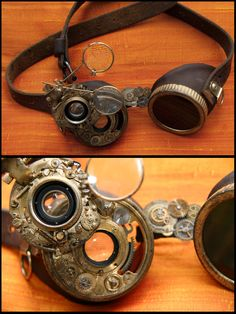 "Steampunk goggles by SteamMouss.deviantart.com on @deviantART "" A pair of goggles I have recently created, using a pair of welder googles, old camera lenses, somes gears, and pieces of leather..."""