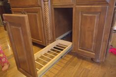 diy pull out trash and recyling bin, diy, kitchen design, storage ideas, woodworking projects Pull Out Kitchen Cabinet, Glass Kitchen Cabinet Doors, Cabinet Space, Diy Kitchen Island, Open Plan Kitchen, Kitchen Ideas, Inexpensive Rugs, Stock Cabinets, Diy Trellis