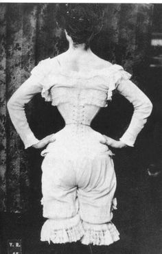 A Gibson Girl in her corset in the early 1900s.  Those poor women!