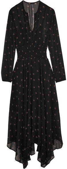 Maje - Printed Silk-georgette Maxi Dress - Black