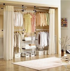 Both side curtains keep your clothes invisible. One complete set. 5 cross bars, 4 poles, 2 wire shelves, 1 curtain set Wire shelf Size : 75x30x3.5cm (30x19x2.2inch) Curtain Size : 220(H)x145(W)cm (87(H)x57(W)inch) (when it installed : 100(front)x22.5(side)cm (39.4(front)x8.9(side)inch)  COLOR : ivory, curtain : ivory  DIMENSION  width : 275~415cm (108~164inch), height : 170~253cm (67~100inch), depth : 57cm (22.5inch)  WEIGHT : 15kg (33LBs)