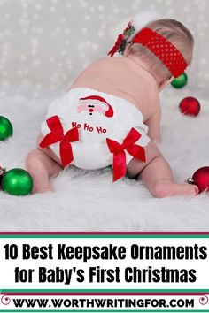Looking for a keepsake ornament for baby's first Christmas? Check out these beautiful keepsake ornaments perfect for remembering your baby's first Christmas ornament to give as a gift or hang on your own tree! Baby's First Ornament, Baby First Christmas Ornament, Baby Ornaments, Babies First Christmas, Christmas Gifts For Kids, Family Christmas, Christmas Ideas, Baby Shower Fun, Baby Shower Gifts