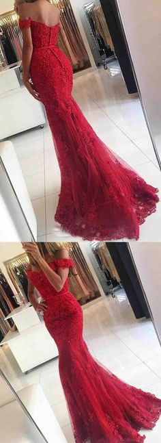 sexy off shoulder prom party dresses, red mermaid evening gowns,elegant prom dresses with appliques
