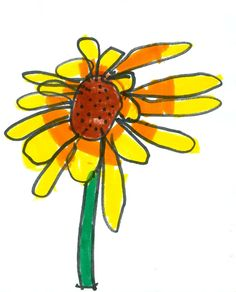 Age 6 drawing flowers  Display the flowers on contrasting paper in a way that each one can be seen individually.  Set out the drawing paper and black markers.  Have available, but set aside, the watercolor markers.
