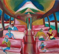 tren a la noche. Venta de pinturas sobre trenes. Paintings of trains for sale. venda de pinturas de trens.