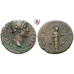 Römische Kaiserzeit, Hadrianus, As 138-139, ss: Hadrianus 117-138. Kupfer-As 26 mm 138-139 Rom. Kopf r. mit Lorbeerkranz HADRIANVS… #coins
