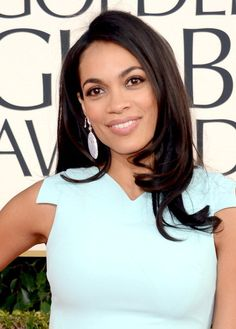 Rosario Dawson Long Sleek Hairstyles 2013 - Simple-but-Stunning, Relaxed Curls Rosario Dawson, Relaxed Hair, Taurus, Afro, Red Carpet Hair, Sleek Hairstyles, How To Curl Your Hair, Brazilian Hair, Human Hair Extensions