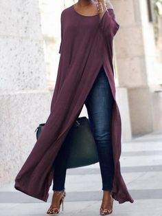 If you love the look of a long maxi dress over pants or jeans, you'll love our new crew neck jersey version that has sexy slits up the front and back. Trend Fashion, Look Fashion, Womens Fashion, Ladies Fashion, Fall Fashion, Fashion Ideas, Fashion Inspiration, Mode Outfits, Fall Outfits