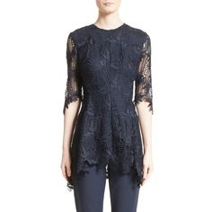 Women's Lela Rose Elbow Sleeve Lace Top ($650) ❤ liked on Polyvore featuring tops, navy, see through tops, navy lace top, navy blue peplum top, elbow sleeve tops and navy top