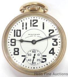 Minty Vintage 23j Waltham Vanguard 16s Railroad Open Face Pocket Watch Running #Waltham