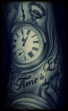 #pocket watch forearm tattoo inked ink halfsleeve sleeve black and grey arm