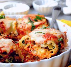 Mushroom Spinach Lasagna Rollups #tasty # #food #recipe http://explodingtastebuds.com/