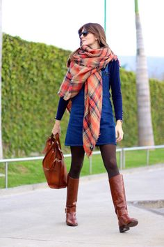 Zara boots - Zara dress - Zara scarf - Massimo Dutti bag - Ray Ban sunglasses