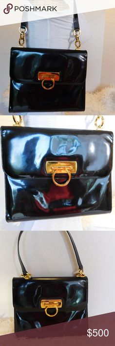 """Authentic Salvatore Ferragamo Patent Leather PURSE BRAND- Salvatore Ferragamo   COLOR- Black/Gold  MATERIAL- Patent Leather  STYLE- Shoulder/Handbag  SIZE- 9"""" length, 8"""" height, 2"""" width, 9"""" strap drop  FEATURES- BEAUTIFUL CLASSIC FERRAGAMO GOLD HORSEBIT, GOLD RINGS ON HANDLE  INSIDE- 1 OPEN COMPARTMENT, 1 ZIPPER POCKET, BAG TAG WITH SERIAL E 211067  CONDITION- PRE-OWNED VINTAGE VERY GOOD, SOME MINOR SIGNS OF WEAR, THE UNDER SIDE OF THE HANDLE HAS SOME RUBBING FROM WEAR. LITE MARKS.  Bin- PB…"""