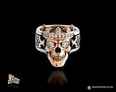 A Different Decision: Skull Wedding Rings - Engagement Rings Gothic Wedding Rings, Skull Wedding Ring, Gothic Engagement Ring, Engagement Ring Settings, Diamond Engagement Rings, Diamond Rings, Skull Jewelry, Gothic Jewelry, Men's Jewelry