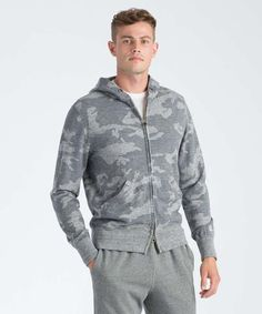 c929894f1fa17 Camo Fullzip Hoodie in Grey Heather Todd Snyder