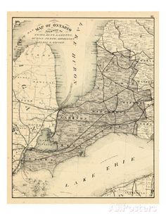 1879, Ontario - Counties, Essex, Kent, Lambton, Huron, Perth, Middlesex, Elgin, Canada, Oxford Giclee Print at AllPosters.com