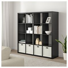IKEA - KALLAX, Shelf unit, black-brown, Choose whether you want to place it vertically or horizontally to use it as a shelf or sideboard. Kallax 4x4, Ikea Kallax Shelf Unit, Ikea Expedit Bookcase, Ikea Shelves, Storage Shelves, Ikea Shelving Unit, Storage Organizers, Modular Shelving, Storage Drawers
