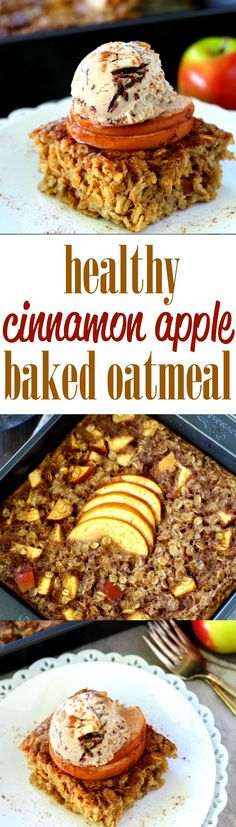 The perfect warm breakfast for cool crisp mornings is this Healthy Apple Cinnamon Baked Oatmeal. It's out of this world scrumptious, cozy and best of all- so very easy! 270 cal for of recipe Best Breakfast, Healthy Breakfast Recipes, Brunch Recipes, Healthy Recipes, Healthy Breakfasts, Healthy Food, Breakfast Ideas, Bar Recipes, Healthy Desserts