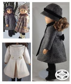 Classic Lined Coat - 18 inch Doll - Traditional Cloche Hat - Classy Doll Clothes - Vintage Inspired -Tailored Wool - PDF Pattern - camel Looking for a classic tailored coat that will be a classy addition to your doll's wardrobe? Sewing Doll Clothes, Doll Clothes Patterns, Girl Doll Clothes, Clothing Patterns, Girl Dolls, Ag Dolls, Doll Patterns, Barbie Clothes, Dress Patterns