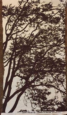 "VTG Marimekko 1972 Tuuli Design by Maija Isola Fabric Art Cotton 27"" X 50"" Brown"